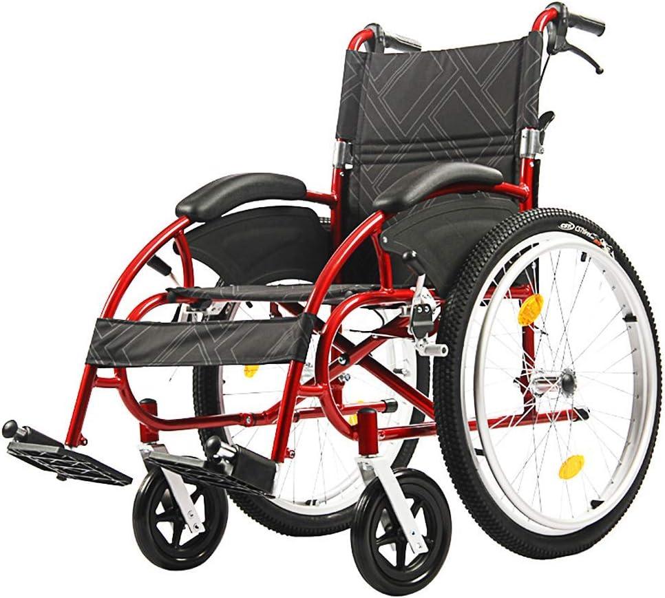 軽量スチールフレーム、抗菌保護、折りたたみ式輸送椅子付きの車椅子はポータブルで、24インチの大型バックホイール、46Cm幅のシート