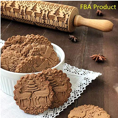 Croodog  Wooden Rolling Pins 16.5 x 2, Engraved Embossing Rolling Pin with Symbols for Baking Embossed Cookies