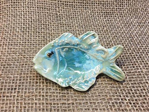 (Ceramic turquoise fish spoon rest/tea bag holder)