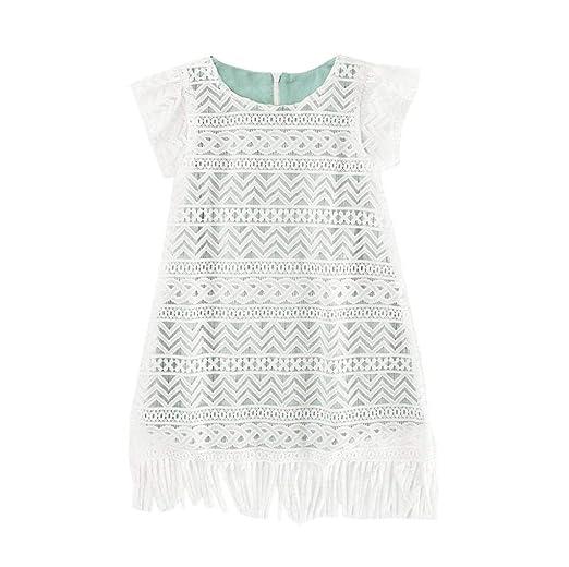 Amazoncom Fashion Baby Girls White Lace Tassel Dress Short