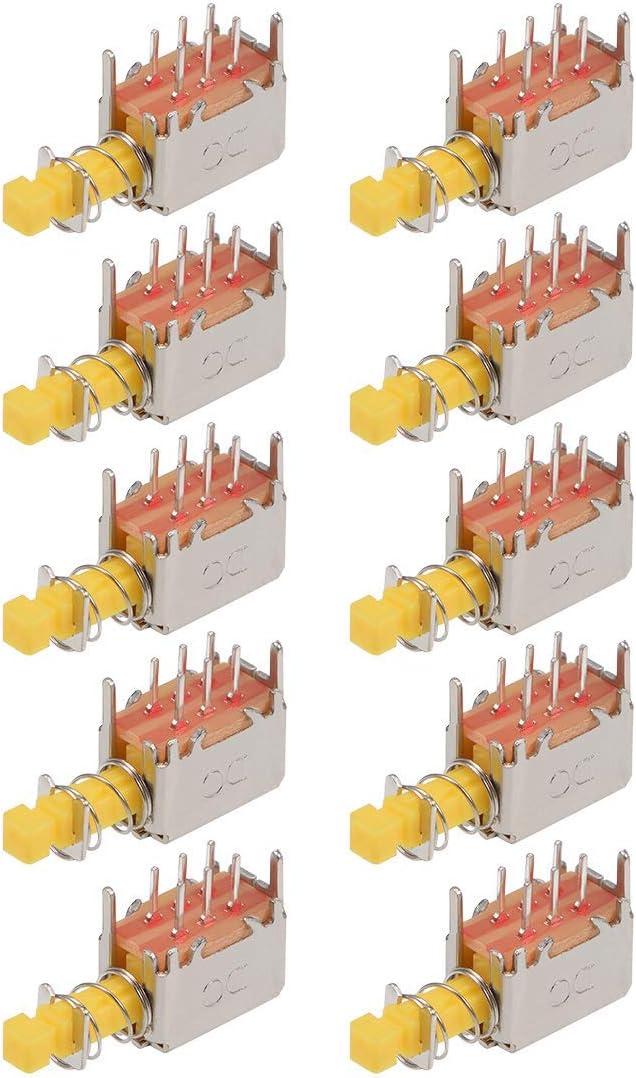 Push Button DPDT 6 Pin 1 Position Self-locking Yellow 10pcs