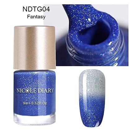 8a4e1405ba NICOLE DIARY 9 ml Esmalte de uñas térmico Brillo Temperatura Cambio de  color Barniz de manicura