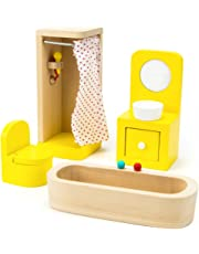Imagination Generation Wooden Wonders County Bathroom Set Dollhouse Furniture, 4 Pieces