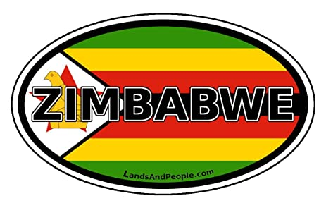 Zimbabwe flag africa state car bumper sticker decal oval