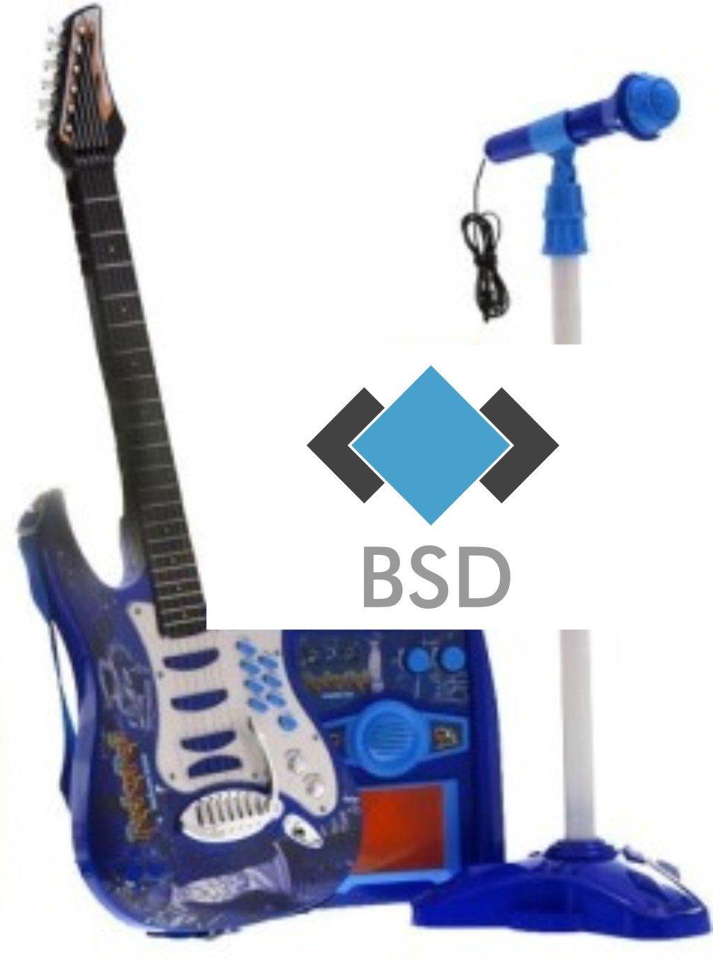 Rock-Gitarre mit Stahlsaiten, Verstärker, verstellbare Stativ und Mikrofon - Rockgitarre für Kinder - Kinder-Gitarre - Rock Guitar - Spielzeug-Gitarre - Gitarre mit Spielfunktionen - Kleinkind Musikinstrument - erste Gitarre für Kleinkind -