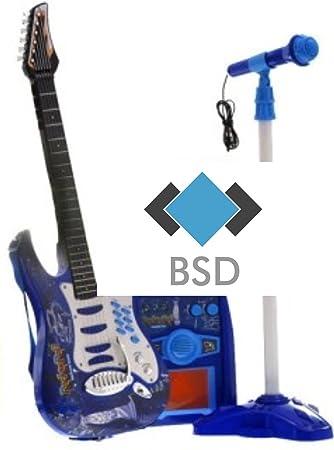 Rock Guitarra con Cuerdas de Acero, Amplificadores, Soporte Ajustable y Micrófono - Guitarra Rock