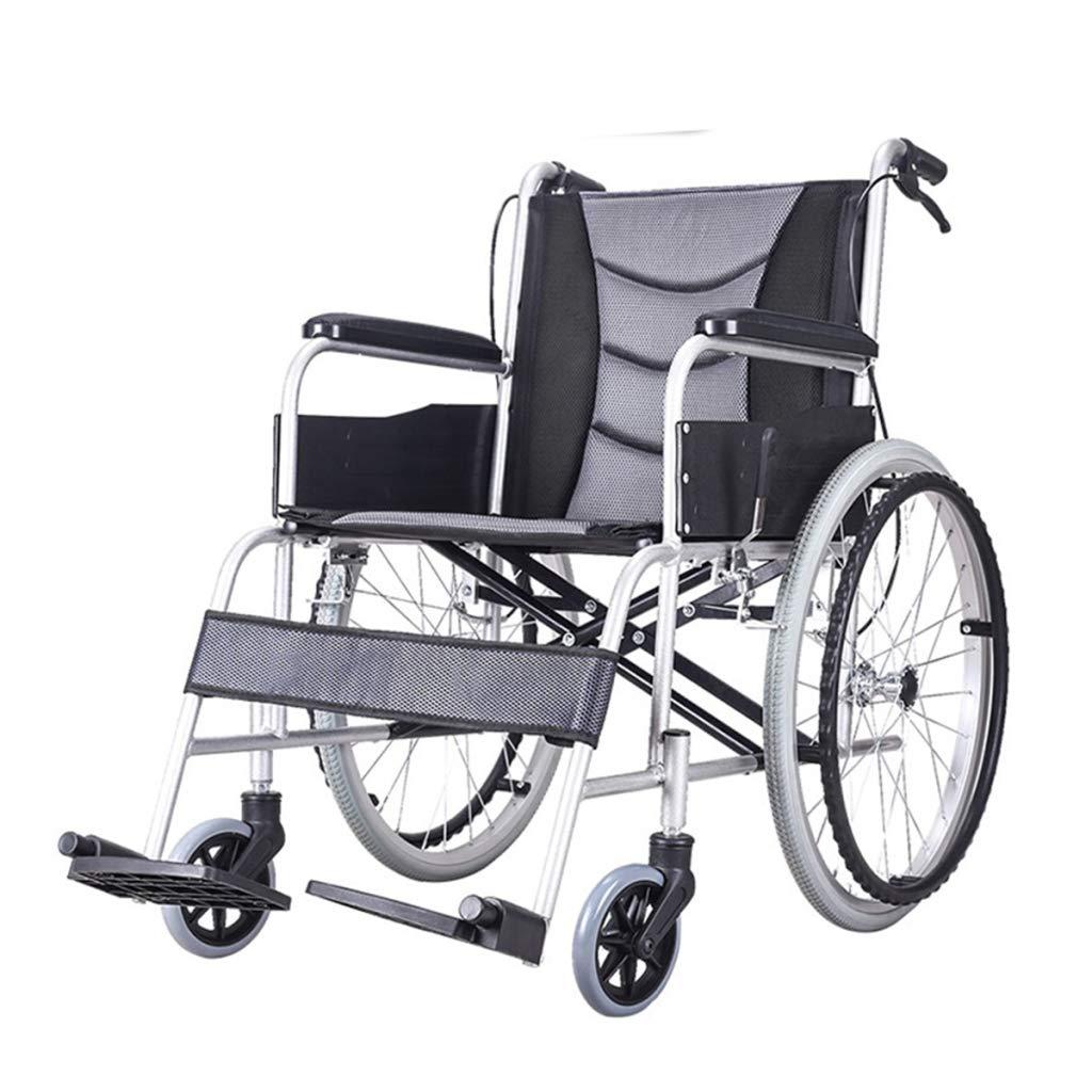 HSBAIS 自走用車いす、ハンドブレーキをロックしたまま簡単に移動できる折りたたみ式ポータブル輸送車椅子,Black  Black B07PZT3JFD