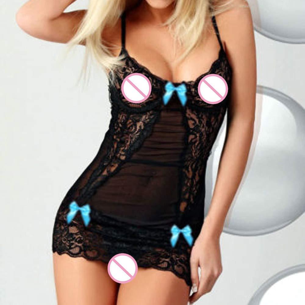 Lingerie for Women for Sex, Mini Sexy Bow Lace Racy Underwear Sleepskirt Bodysuit Lace Bra Top Blue by yijiamaoyiyouxia Lingerie (Image #3)