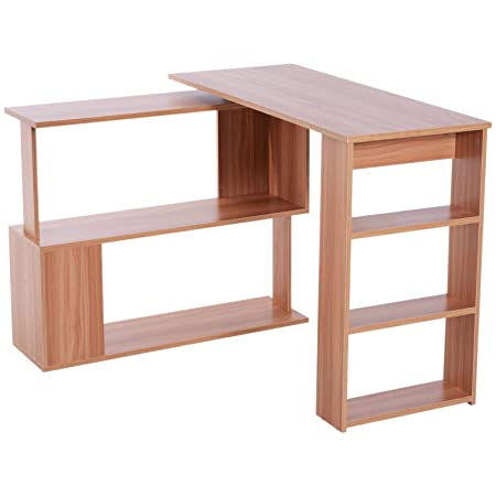 benzoni - Escritorio esquinero multiposición con 5 estantes de ...
