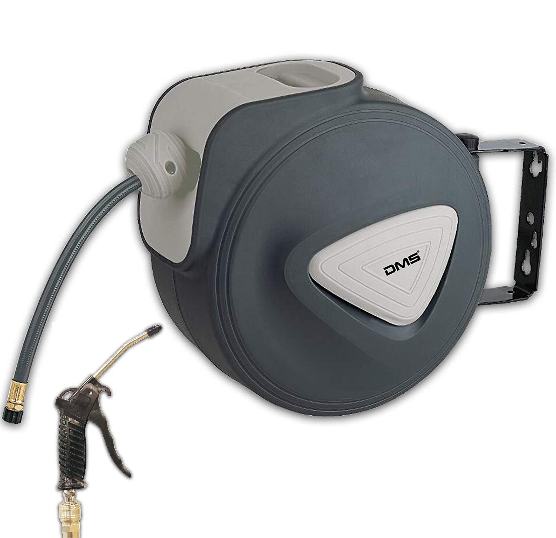 DMS Druckluftschlauch Aufroller Automatik Schlauchtrommel EU 1/4 Trommel Wandschlauchhalter Schlauchaufroller Druckluftschlauch-Aufroller Druckluftschlauch-trommel DST (10 Meter, Grau) DMS®
