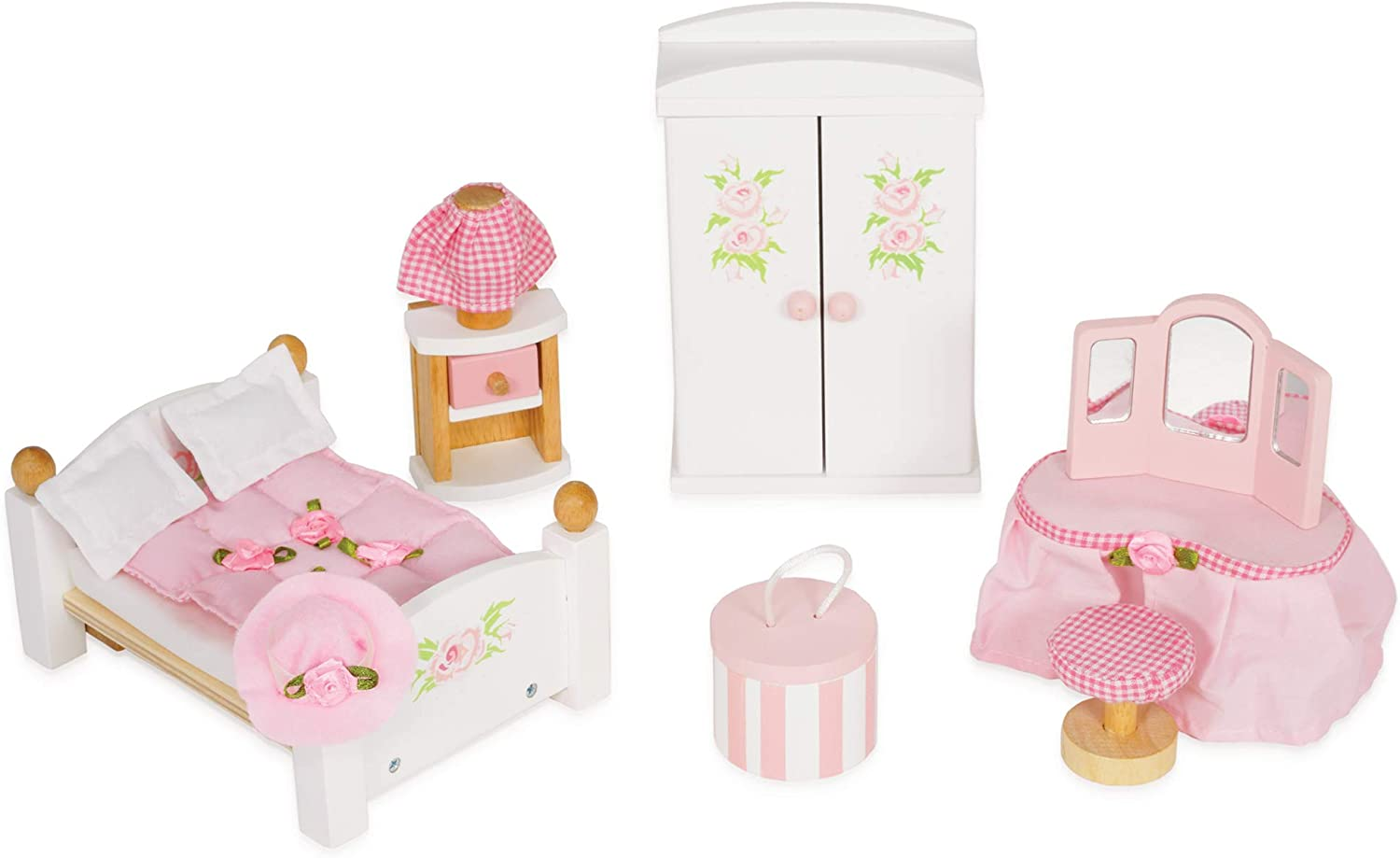 Le Toy Van - Wooden Daisylane Master Bedroom Dolls House | Accessories Play Set For Dolls Houses | Girls and Boys Dolls House Furniture Sets - Suitable For Ages 3+