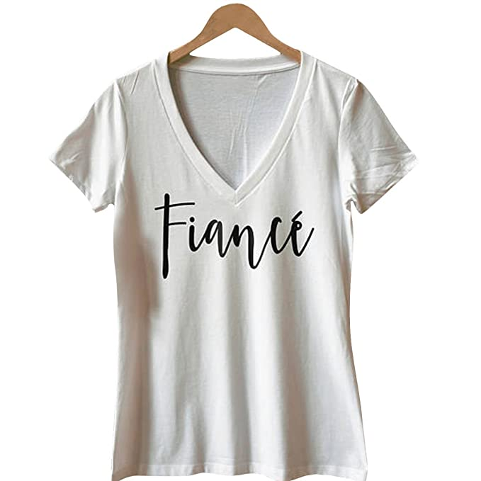 Summer Tops Womens Fiance Letters Printed V Neck Harajuku T Shirt