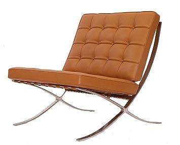 Charmant EMod   Modern Pavilion Barcelona Chair Italian Leather Terracotta (Light  Brown)