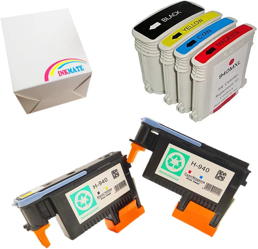 INKMATE 4 Pack 940xl Remanufactured Ink Cartridge with 2 Pack Remanufactured 940 Printhead for A909a A910a A909g A909n 8000 8500 8500A 8500A Plus
