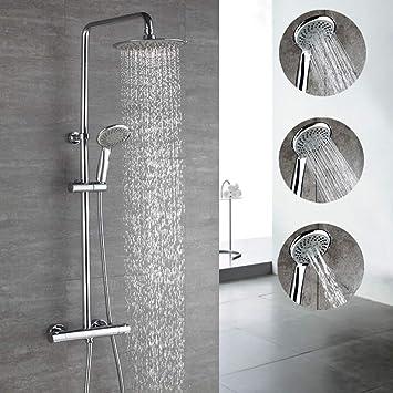 Duscharmatur mit Thermostat Duschsystem Regendusche Duschset Handbrause Chrom