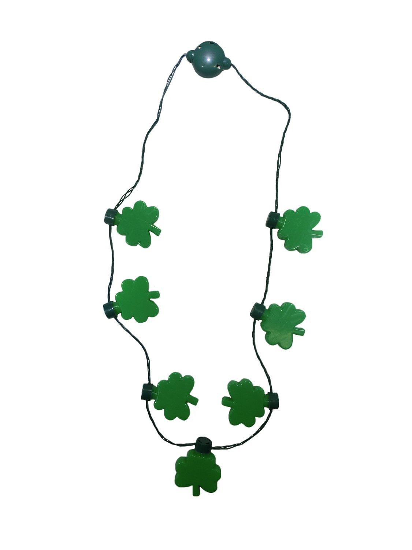 Nicky Bigs Novelties Light up St Patricks Day Shamrock Necklace Flashing Green Bulb LED Glow Clover
