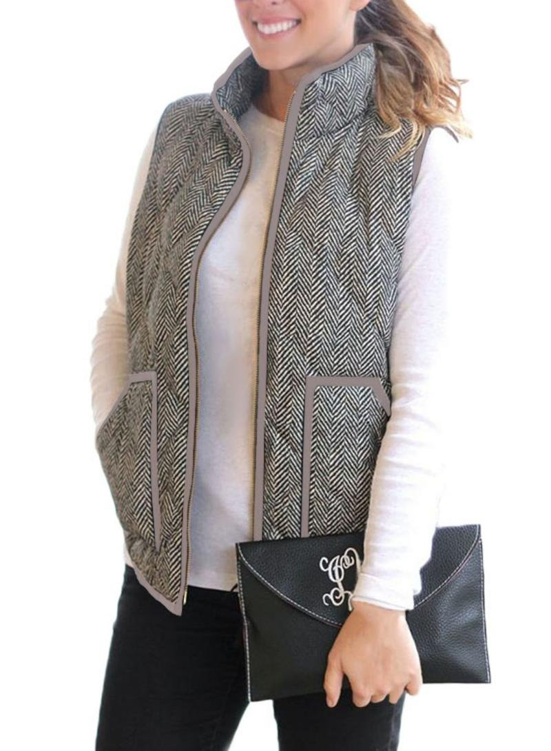Dearlove Women's Fall Slim Lightweight Zip Up Quilted Herringbone Down Puffer Vest Padded Outdoor Jacket with Pockets Brown M 8 10