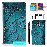 Note 4 Case, Galaxy Note 4 Wallet Case, U-Gem star Galaxy Note 4 PU Leather Wallet Stand Magnetic Cover Case for Samsung Galaxy Note 4,with SIM Card Adapter Kit+Screen Protector (Cherry Blossom)
