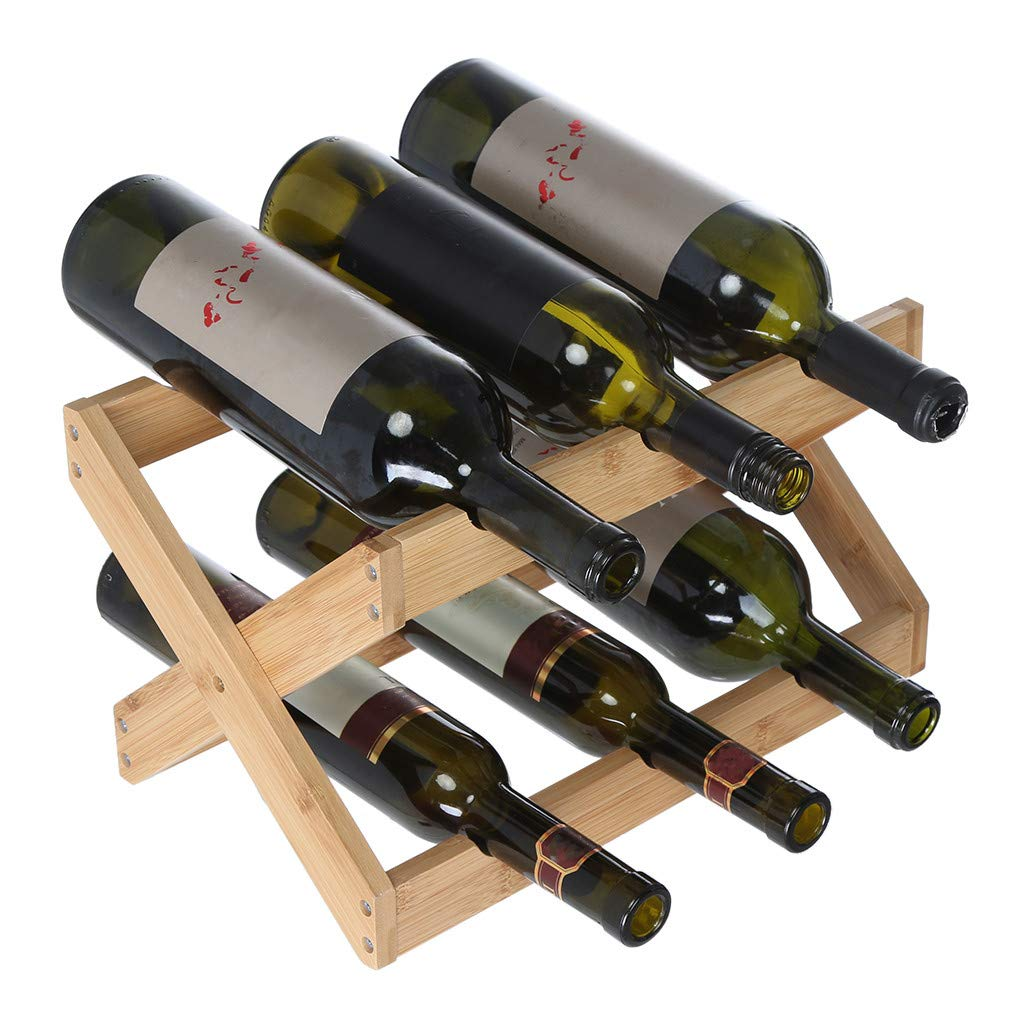 Buolo-Ship from USA Natural Bamboo Foldable Countertop Wine Rack 6 Bottle Wine Cooler Counter Top Free Standing Wood Storage Folding for Home Office Decor (Brown)