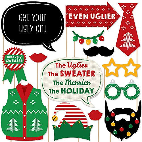 Big Dot of Happiness Ugly Sweater  Holiday and Christmas Party Photo Booth Props Kit  20 Count