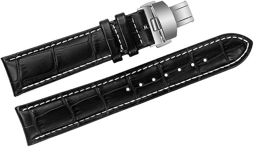 23 mm Negro Correas/Correas de Reloj de Cuero Acolchado de reemplazo Italiana Hecha a Mano con Piel de Vaca Grosgrain Costuras de Color Blanco
