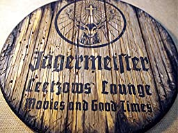 Personalized decorative Sign - liqueur barrel top | Hand painted Jägermeister liqueur artwork and your additional message on a carved, distressed wood sign | Rustic wall decor