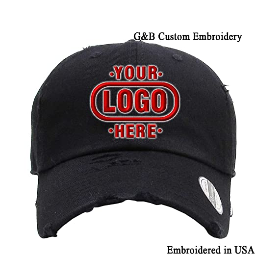 KB ETHOS Distressed Unstructured Adjustable Cap Embroidered with Your Own  Text (Black - Logo) 6f3b55d9144