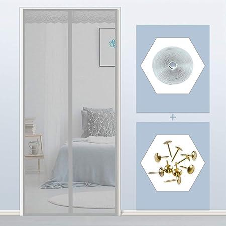 THAIKER Mosquitera Puerta Magnetica, 130x200cm(51x79inch) Mosquiteras a Medida Magnética Automático Mantiene los Mosquitos de Insectos Fuera para Puertas Correderas, Gris: Amazon.es: Hogar