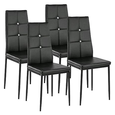 Homgrace Set de 4 sillas de Comedor Sillas Tapizadas Símil Piel, Estructura Metálica, Negro
