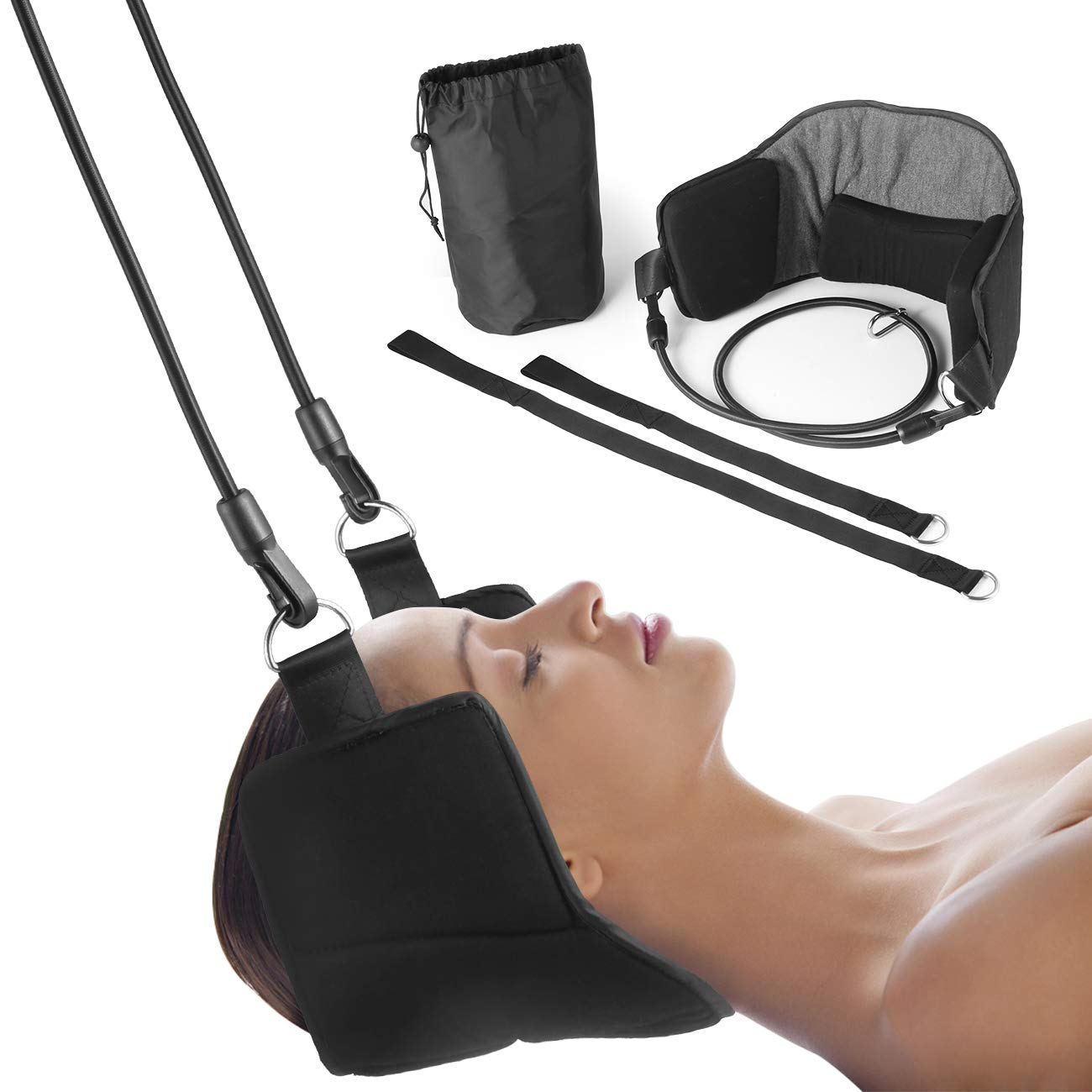MIGO Hammock for Neck Pain Relief, Portable Cervical Traction and Relaxation Device, Perfect for Muscles Pain Relief Relax in Car Office and Home (Black)