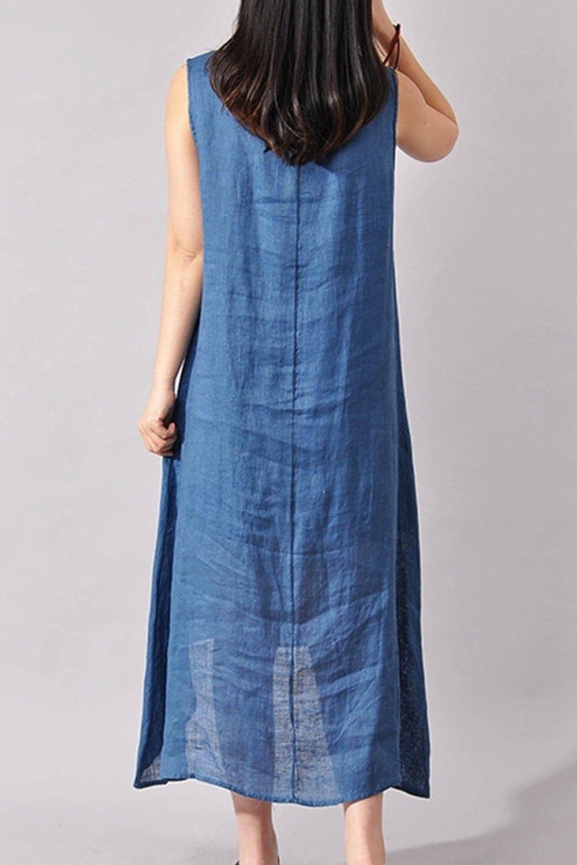 yulinge Women Summer Elegant Cotton and Linen Shift Maxi Dress Floral Dresses: Amazon.co.uk: Clothing