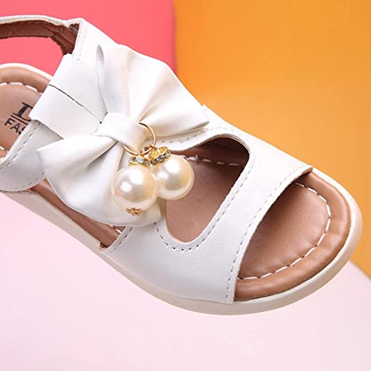 Lanhui Kids Sandals Size Fashion Bowknot Flat Pearl Casual Girls Summer Beach