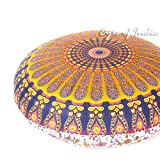 Eyes of India - 32'' Orange Purple Floor Meditation Pillow Cushion Seating Throw Cover Mandala Hippie Round Colorful Decorative Bohemian Boho Dog Bed IndianCover Only