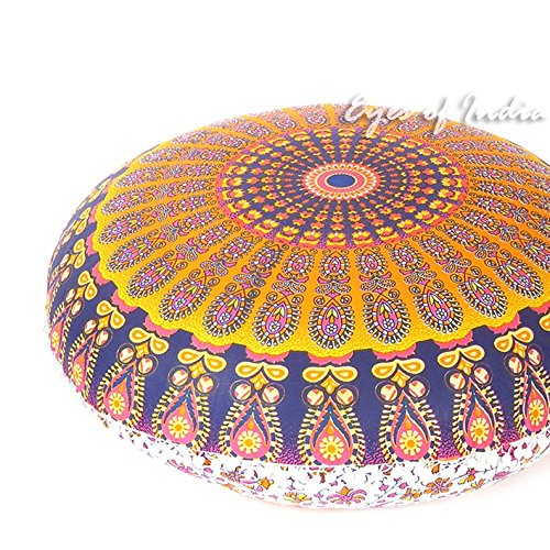 Eyes of India - 32'' Orange Purple Floor Meditation Pillow Cushion Seating Throw Cover Mandala Hippie Round Colorful Decorative Bohemian Boho Dog Bed IndianCover Only by Eyes of India