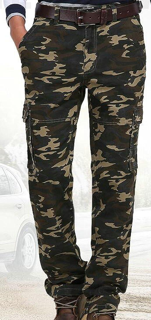 GloryA Mens Camouflage Mid Waist Multi Pockets Casual Cargo Pants