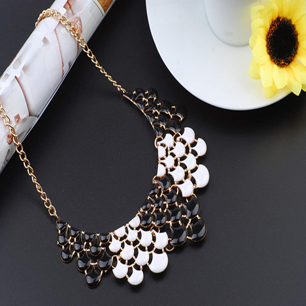 cushang Mens Pendant Simple Fish Scale Hollow Multi-Color Drop Oil Metal Alloy Necklace Circumference 40cm+5cm Extension Chain