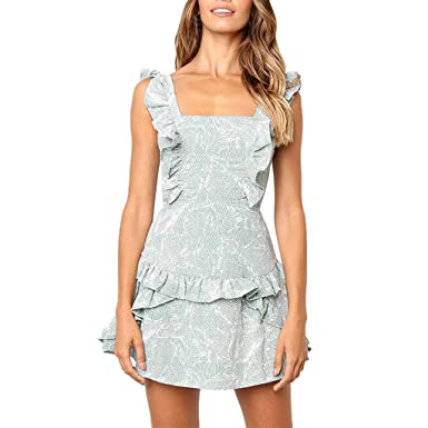 52f5de6d44ff kemilove Sexy Womens Sleeveless Chiffon Print Loose Ruffled Flounce Cut Out  Bandage Dress Blue