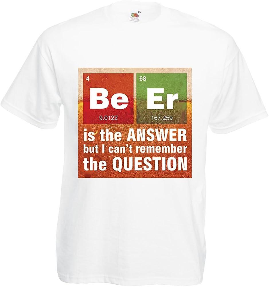 lepni.me Camisetas Hombre La Cerveza es la Respuesta! Científico Inteligente, Amante de la química. (Small Blanco Multicolor): Amazon.es: Ropa y accesorios