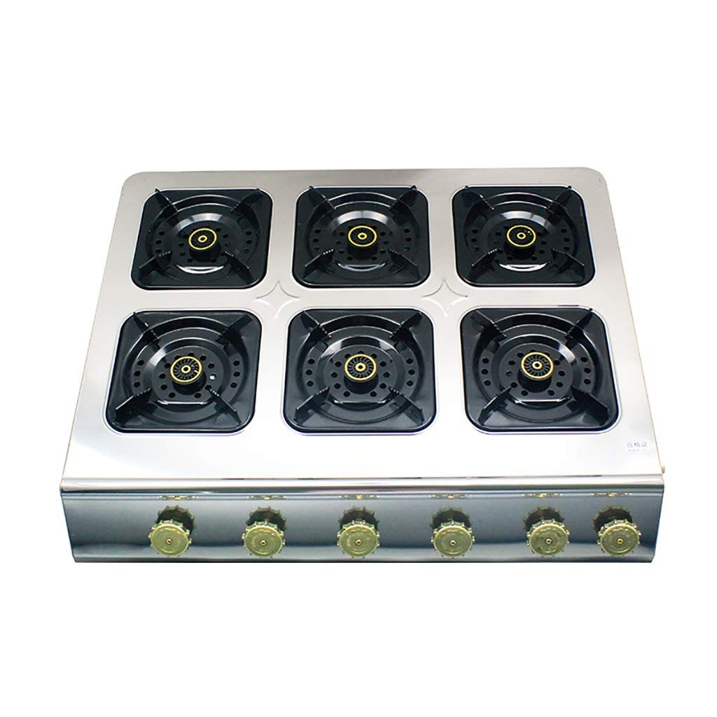 Natural Gas Cooktops,Stainless Steel Kitchen Hotel Outdoor, Restaurant, Home Desktop Rectangles 6 Burner Cooker Multi-Function Stove by LQ-Stoves