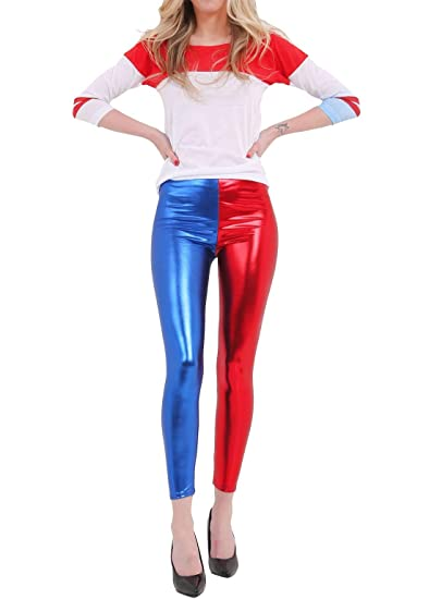 a6eaba50ddd0c Rimi Hanger Womens Luxury Red Blue Shiny Metallic Leggings Ladies Fancy Wet  Look Disco Pants S/2XL at Amazon Women's Clothing store: