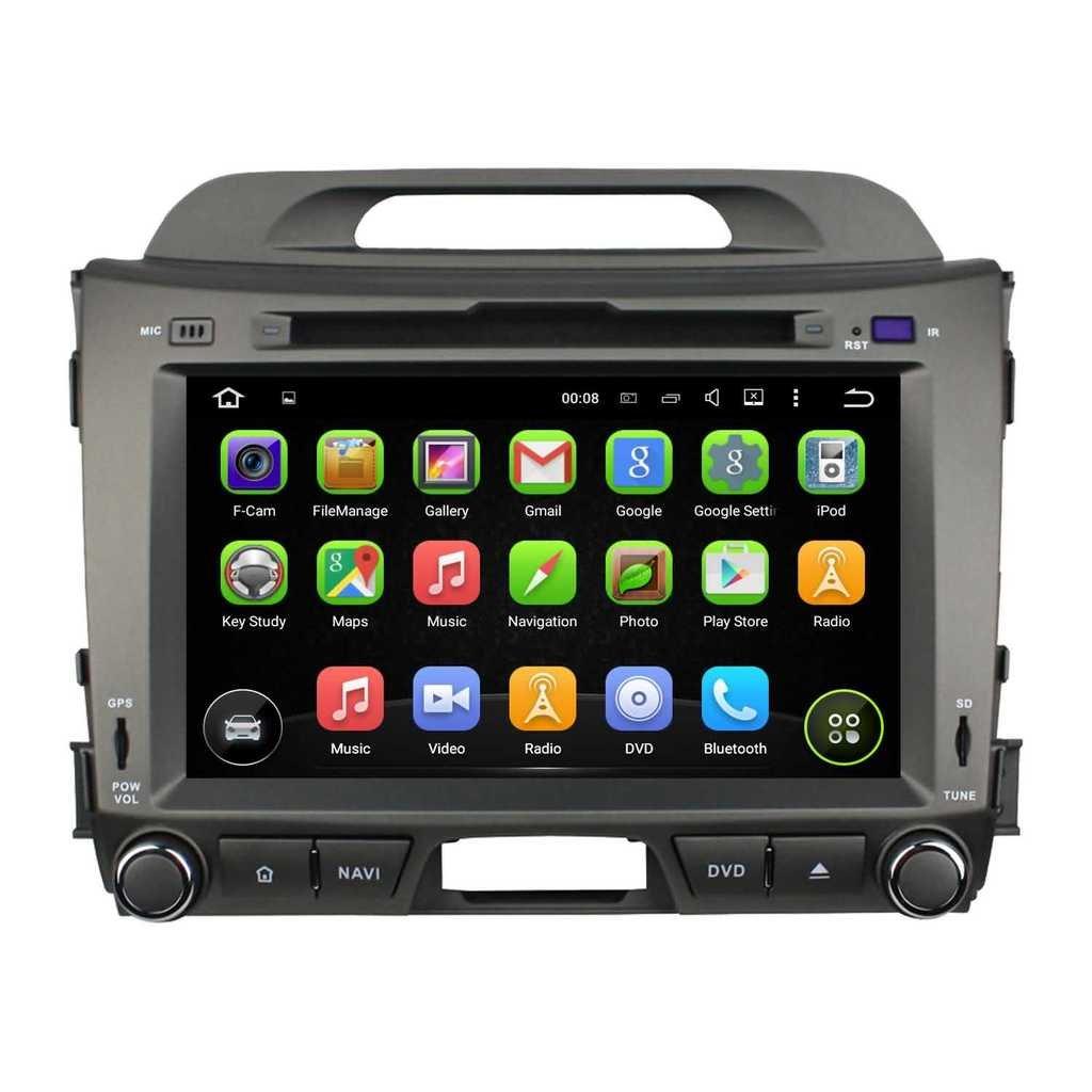 2 Din 8 pouces Android 5.1.1 Lollipop stéréo de voiture pour Kia Sportage 2010 2011 2012 2013 2014 2015,DAB+ radio 1024x600 écran tactile capacitif avec Quad Core Cortex A9 1.6G CPU 16G flash et 1G de RAM
