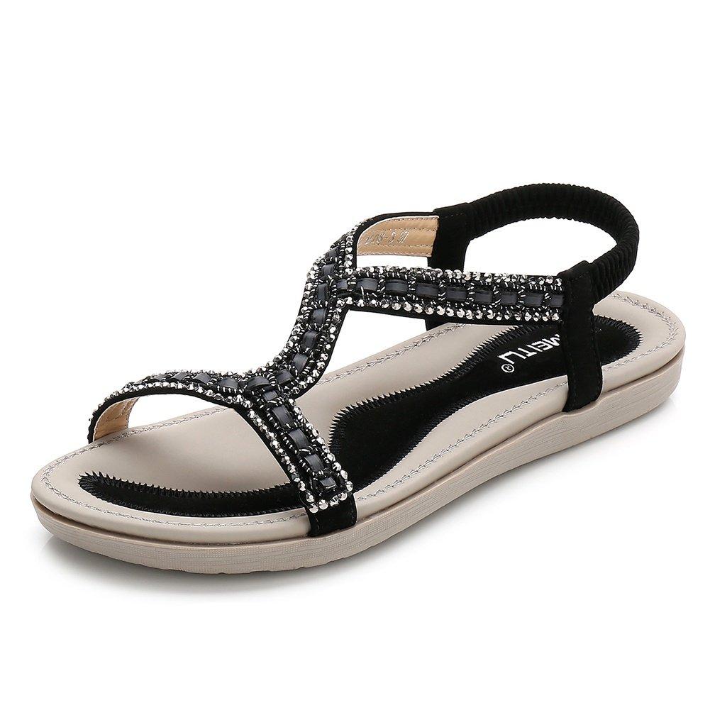 Meeshine Women's Summer Beach Flat Sandals Bohemia Beaded T-Strap Rhinestone Slip on Sandals Shoes(8 B(M) US,Black 01)