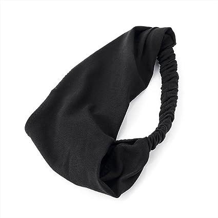 Jersey Fabric Stretch Head Wrap Headband Hair Band Elastic in  Black
