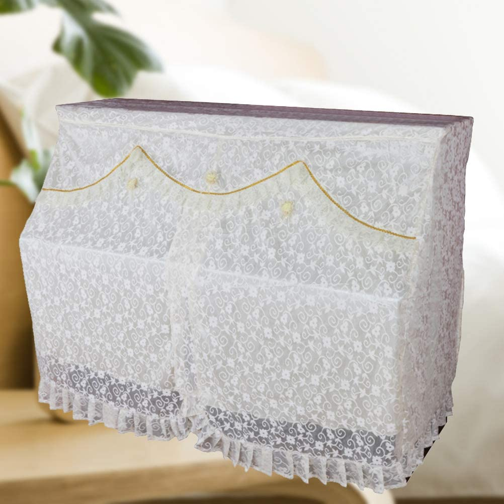 White Healifty Full Piano Cover Lace Upright Piano Cover for Universal Upright Vertical Piano Upright piano