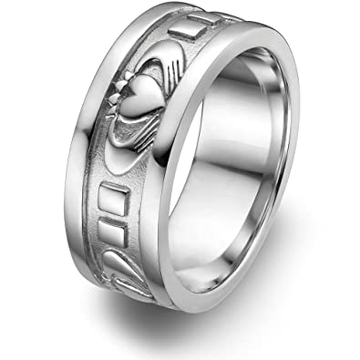 Sterling Silver Menu0027s Claddagh Wedding Ring UMS 6343 Size: 7