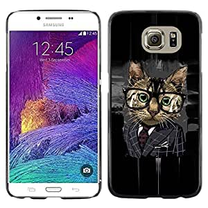 LECELL -- Funda protectora / Cubierta / Piel For Samsung Galaxy S6 SM-G920 -- Office Business Glasses Cat --