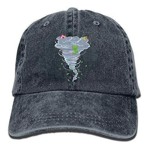 Denim Baseball Cap Tornado Design Art Summer Hat Adjustable Cotton Sport (Ball Tornado Buckle)