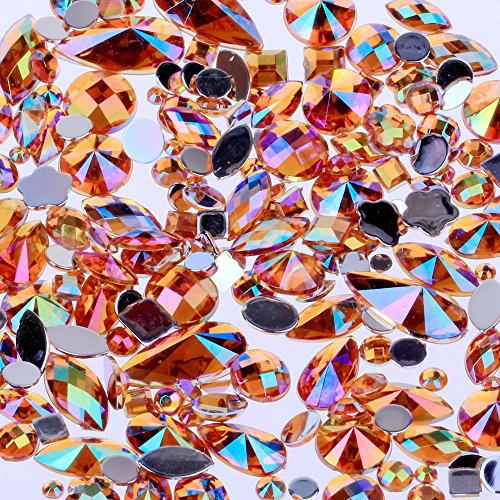 Mix Sizes 300pcs Crystal Orange Yellow AB Nail Art Rhinestones DIY Non Hotfix Flatback Acrylic Nail Stones Gems for 3D Nails Art Decorations (Orange Yellow AB)