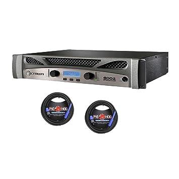 Crown XTi 6002 de 2 canales, 2100w 4 ohmios Amplificador de Potencia y 2 cerdo