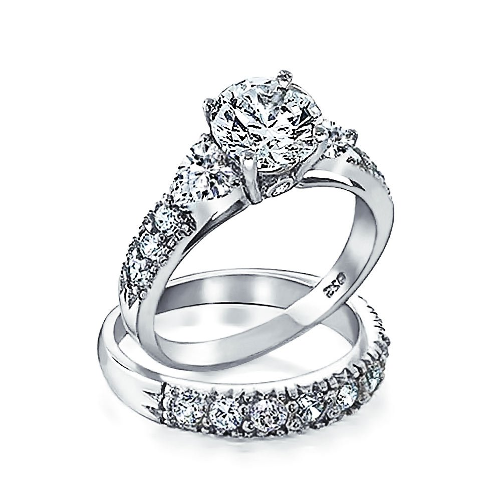 .925 Silver CZ Heart Side Stones Wedding Engagement Ring Set